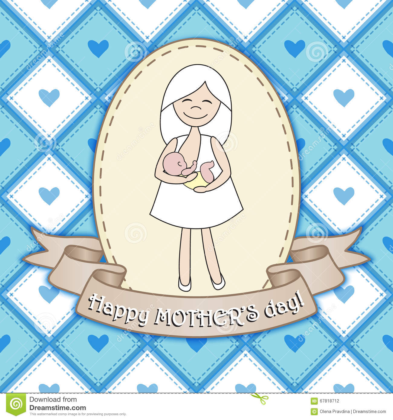 Beautiful Greeting Card Design With Nursing Woman For ...