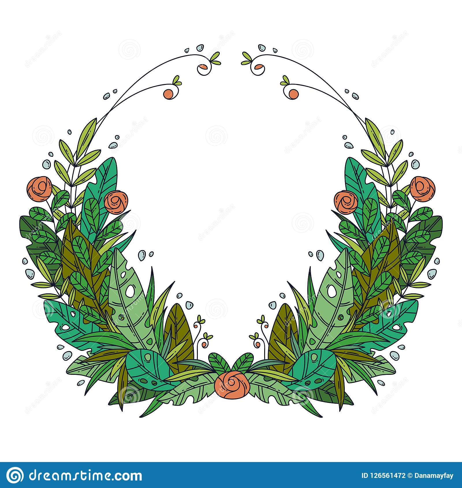 Beautiful Greeting Card With Floral Cartoon Wreath
