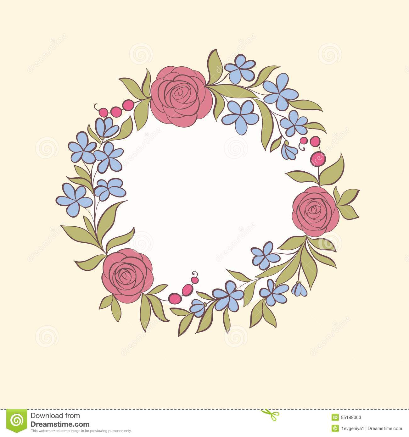 Beautiful Greeting Card Of Floral Wreath Hand Drawn Background For Cards And Invitations The Wedding Birthday Mothe