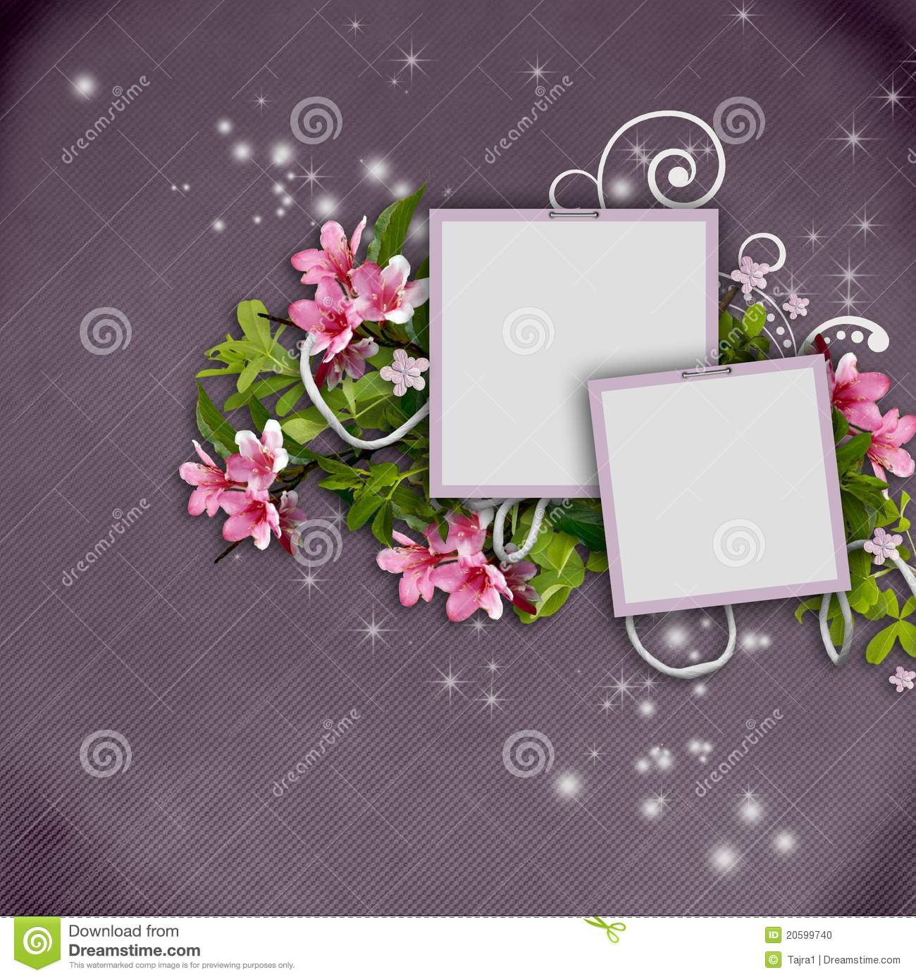 Beautiful Greeting Card With Photo Frames Stock
