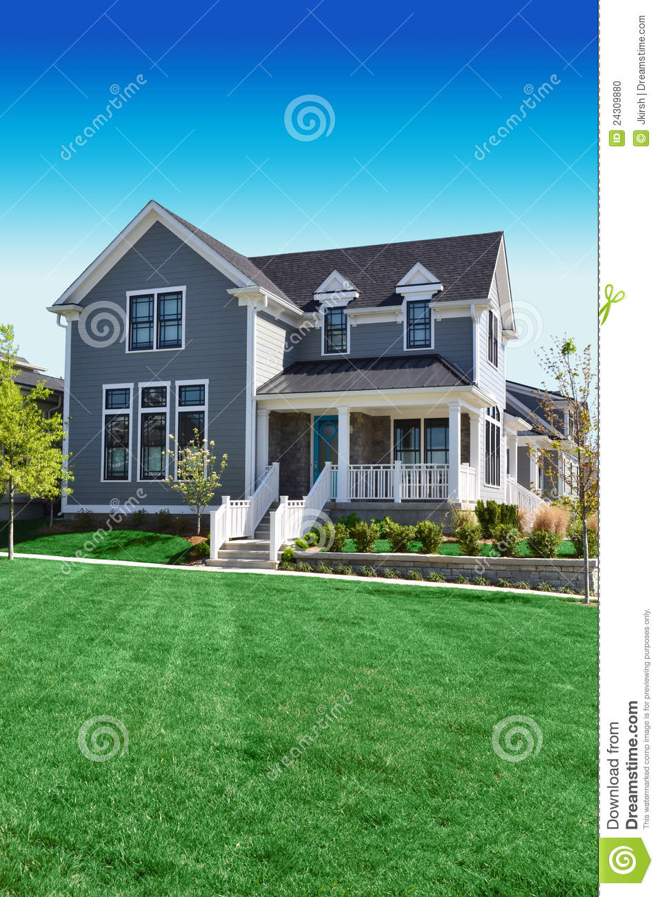 Beautiful Grey Cape Cod Style Home Stock Photo Image