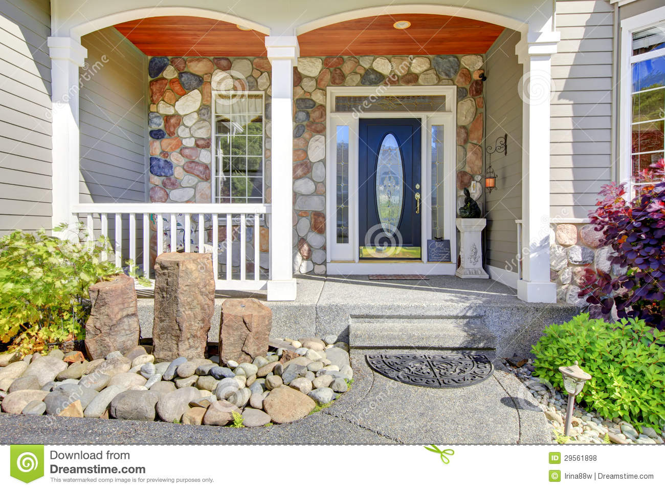Beautiful Grey New Classic Home Entrance Exterior With Natural Stone Royalty
