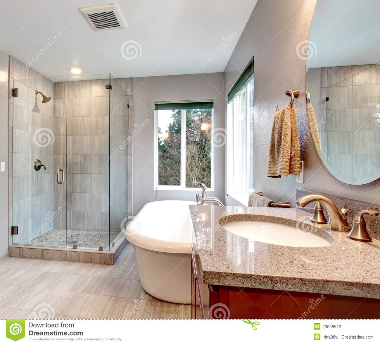 Beautiful Grey New Modern Bathroom Interior Stock