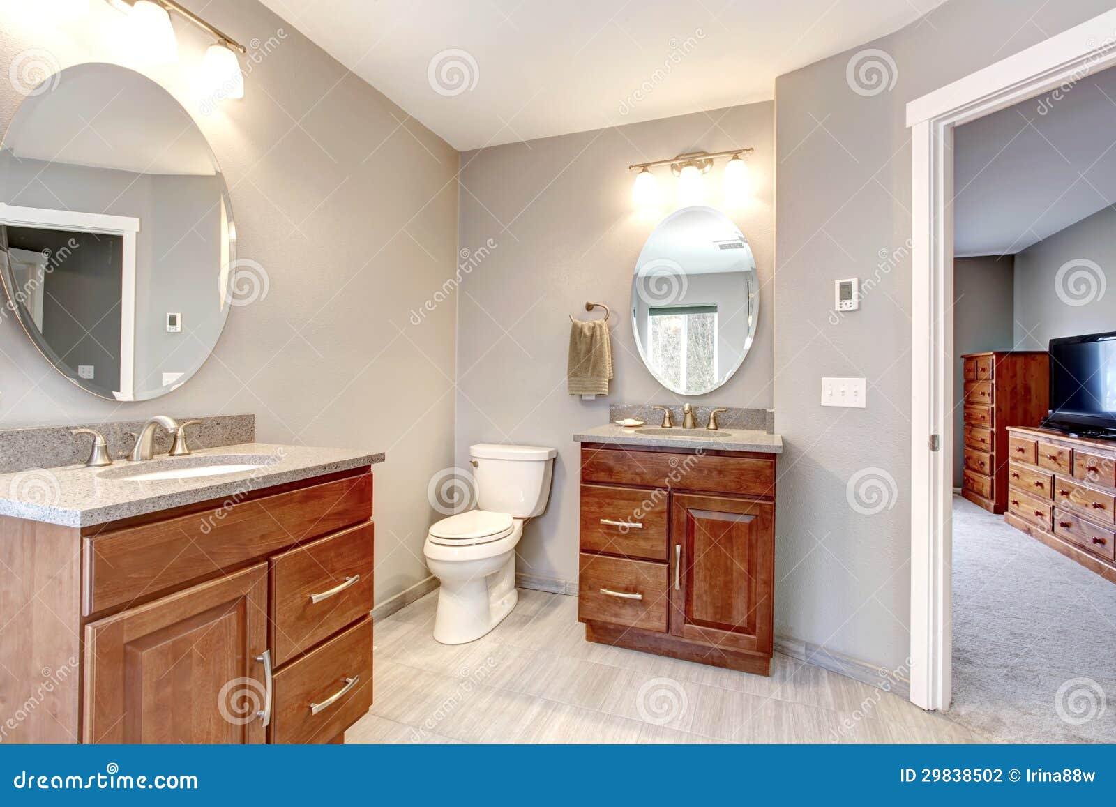 Beautiful Grey New Modern Bathroom Interior Stock Photography Image 29838502