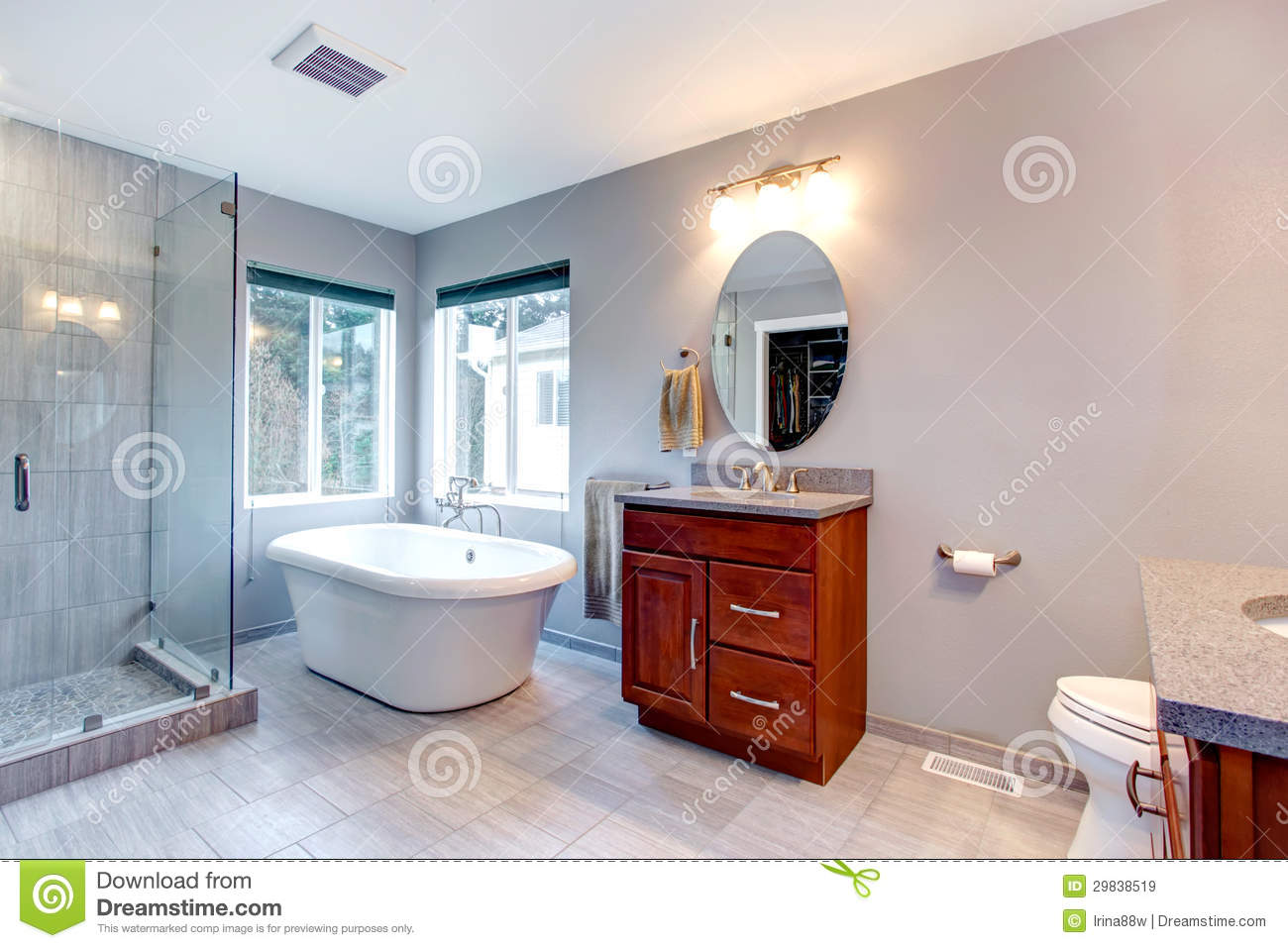 Beautiful grey new modern bathroom interior royalty free for Latest bathroom interior