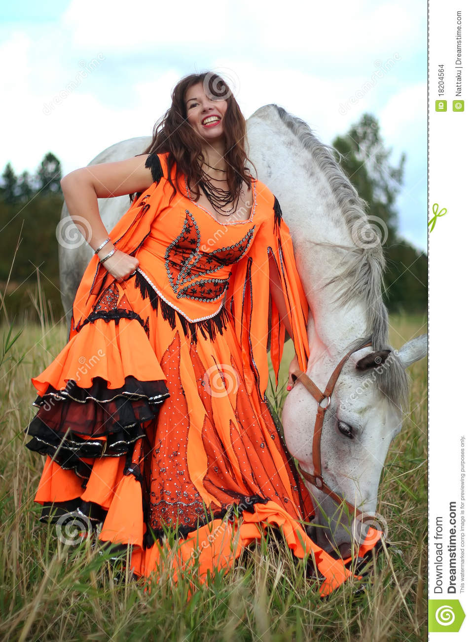 Beautiful Gypsy Dancer With A Horse Stock Photo - Image ...