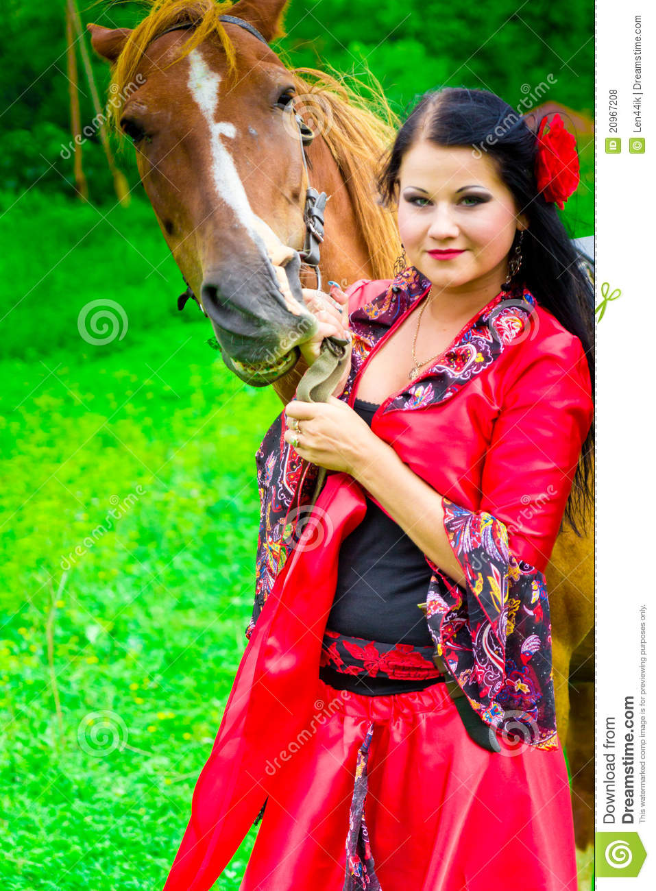 Girl With The Blog: Beautiful Gypsy Girl With A Horse Stock Photo