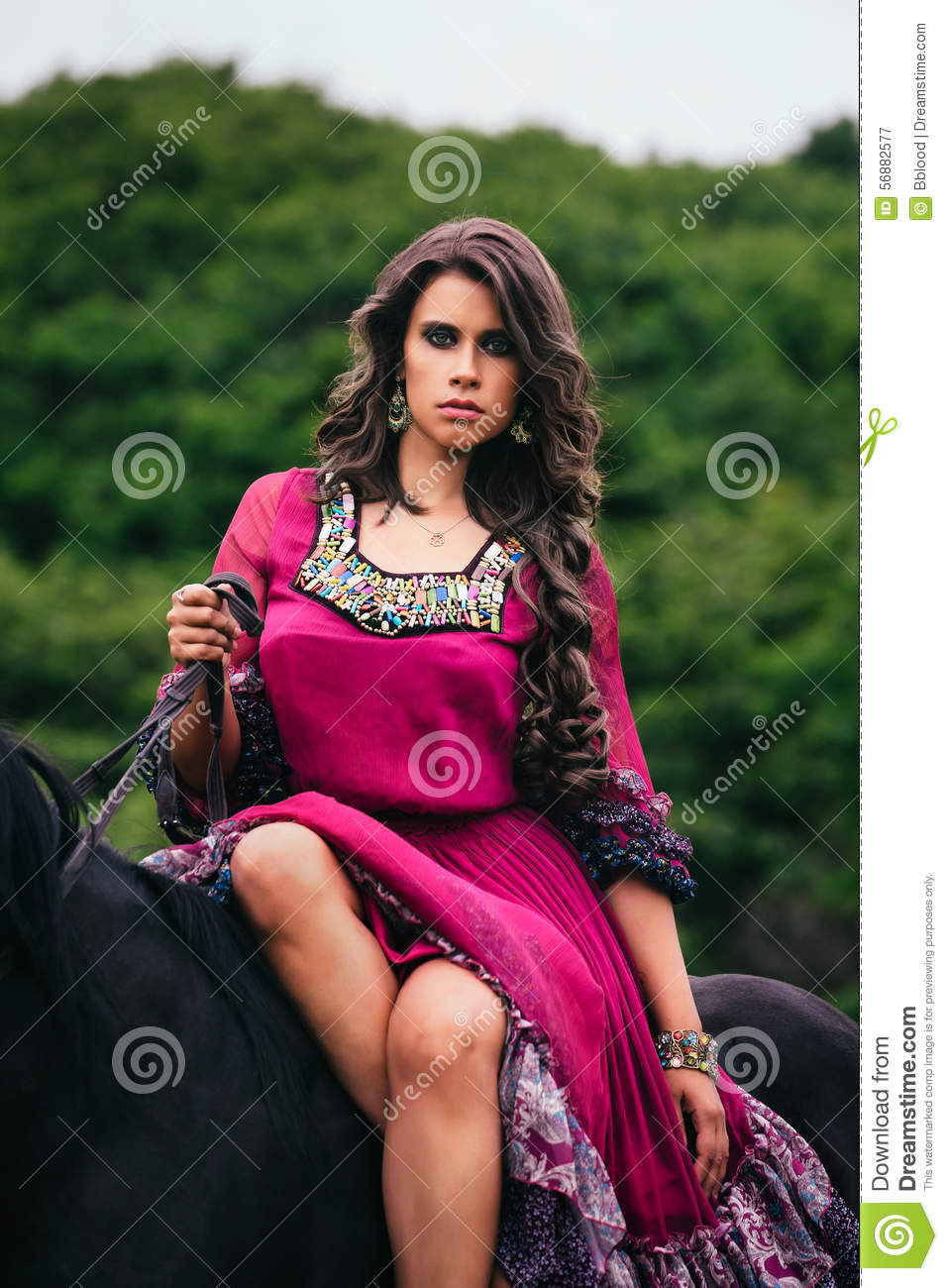 beautiful gypsy in violet dress stock photo   image 56882577