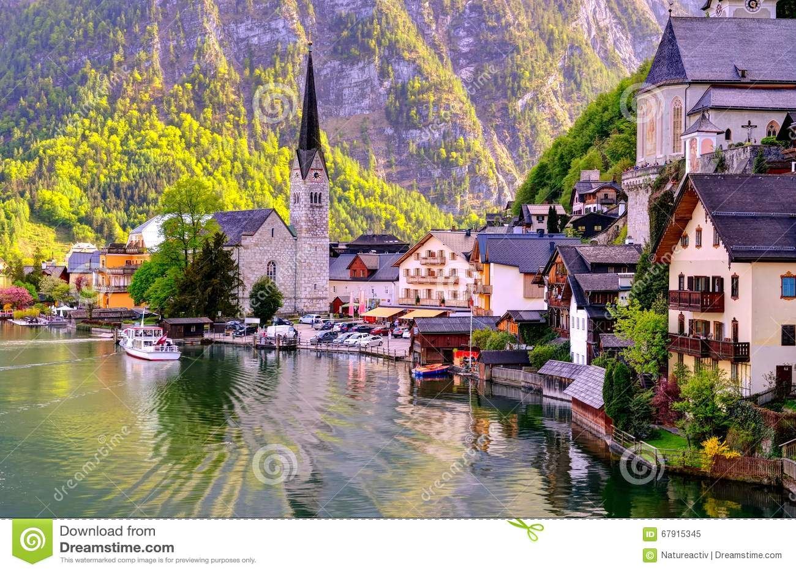 Beautiful Hallstatt Town In Austria. Stock Photo - Image: 67915345