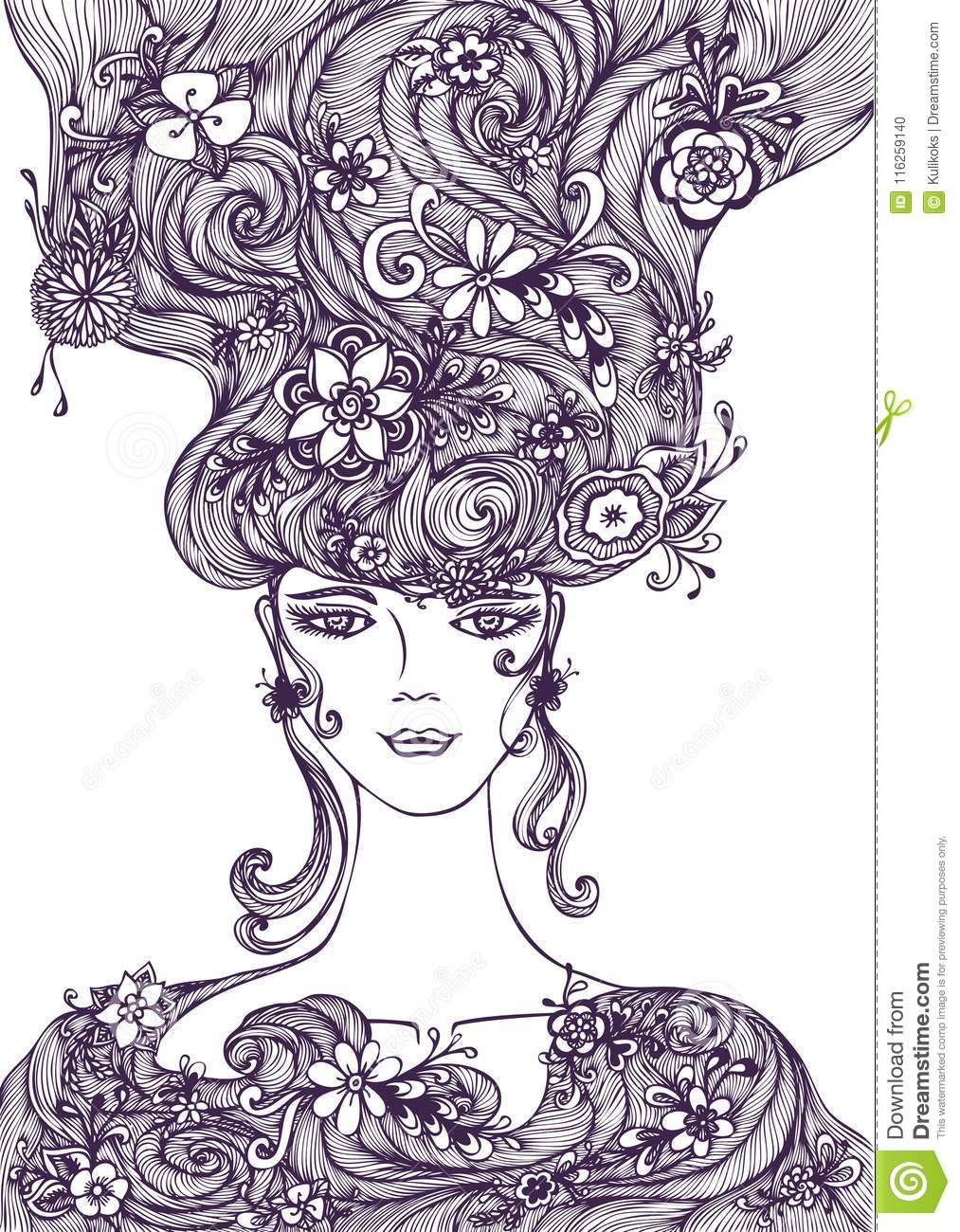Beautiful Hand Draw Girl With Flowers Hair Black On White Stock
