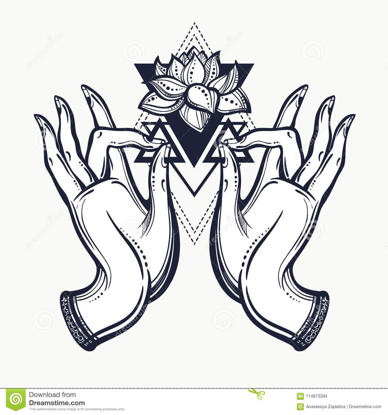 Beautiful Hand Drawn Buddha Hands With Lotus Flower And Sacred