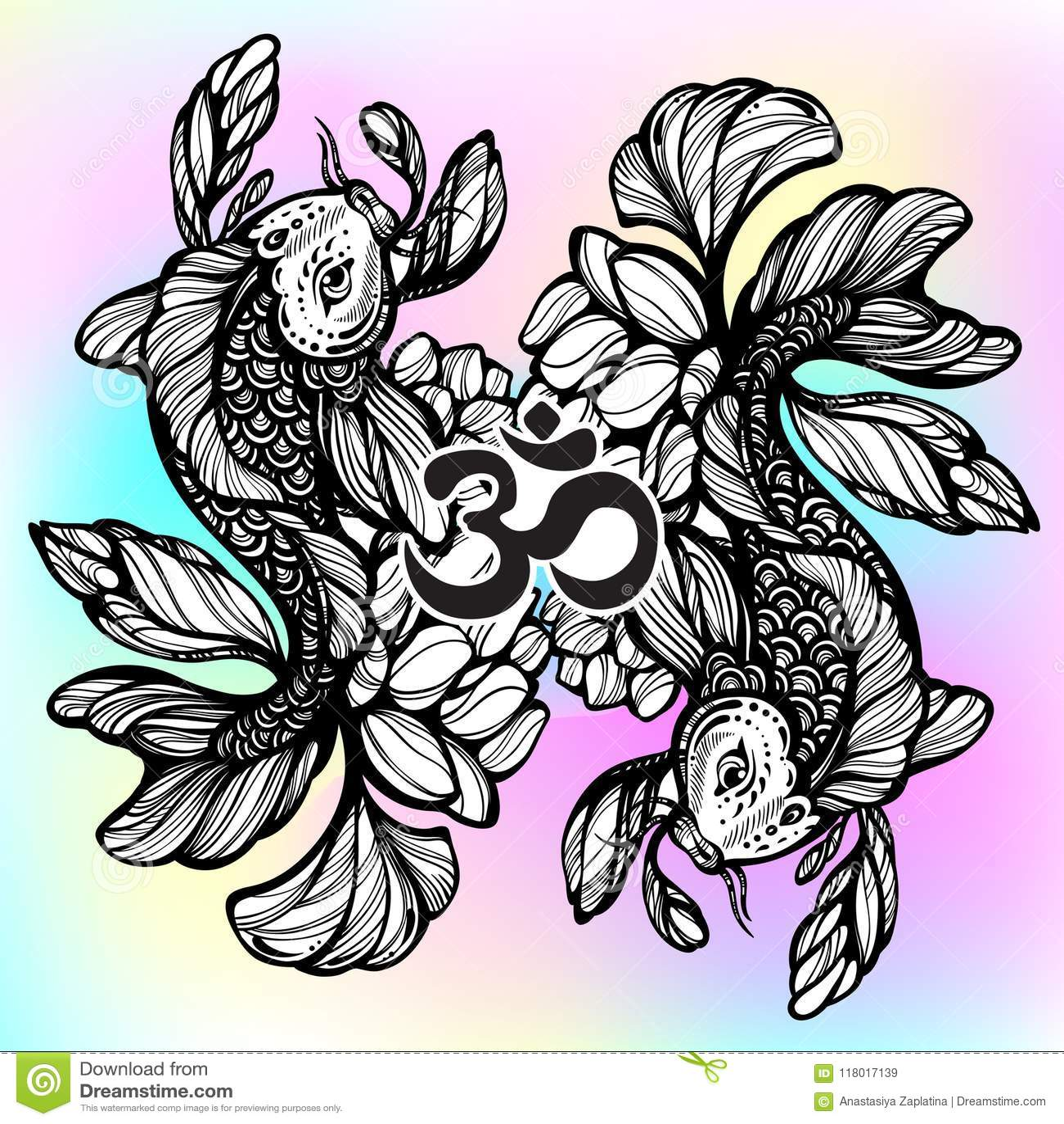 Beautiful hand drawn oriental illustration of koi carp fish with download beautiful hand drawn oriental illustration of koi carp fish with lotus flower around izmirmasajfo