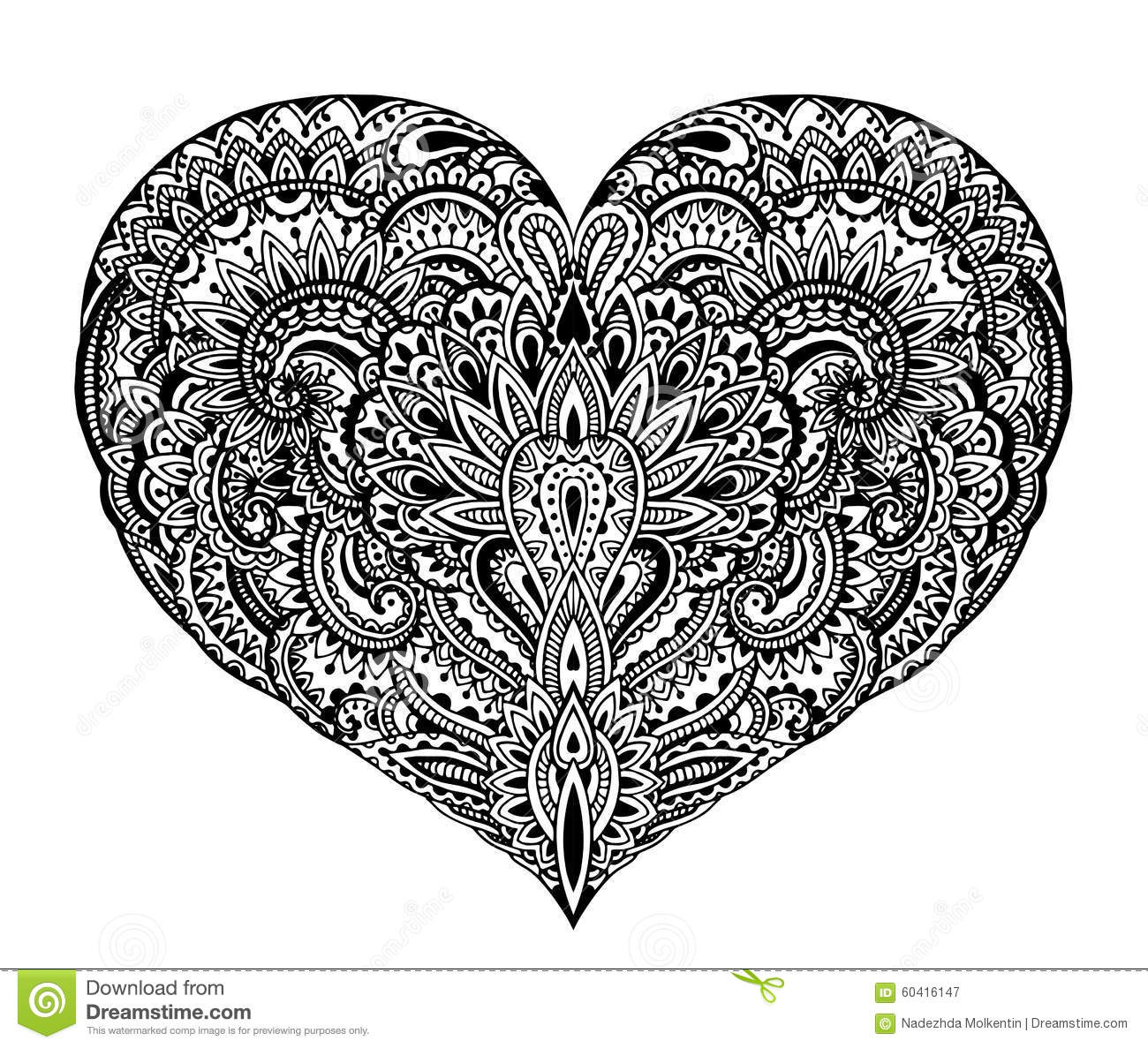 Beautiful Hand Drawn Ornate Heart In Zentangle Style Stock