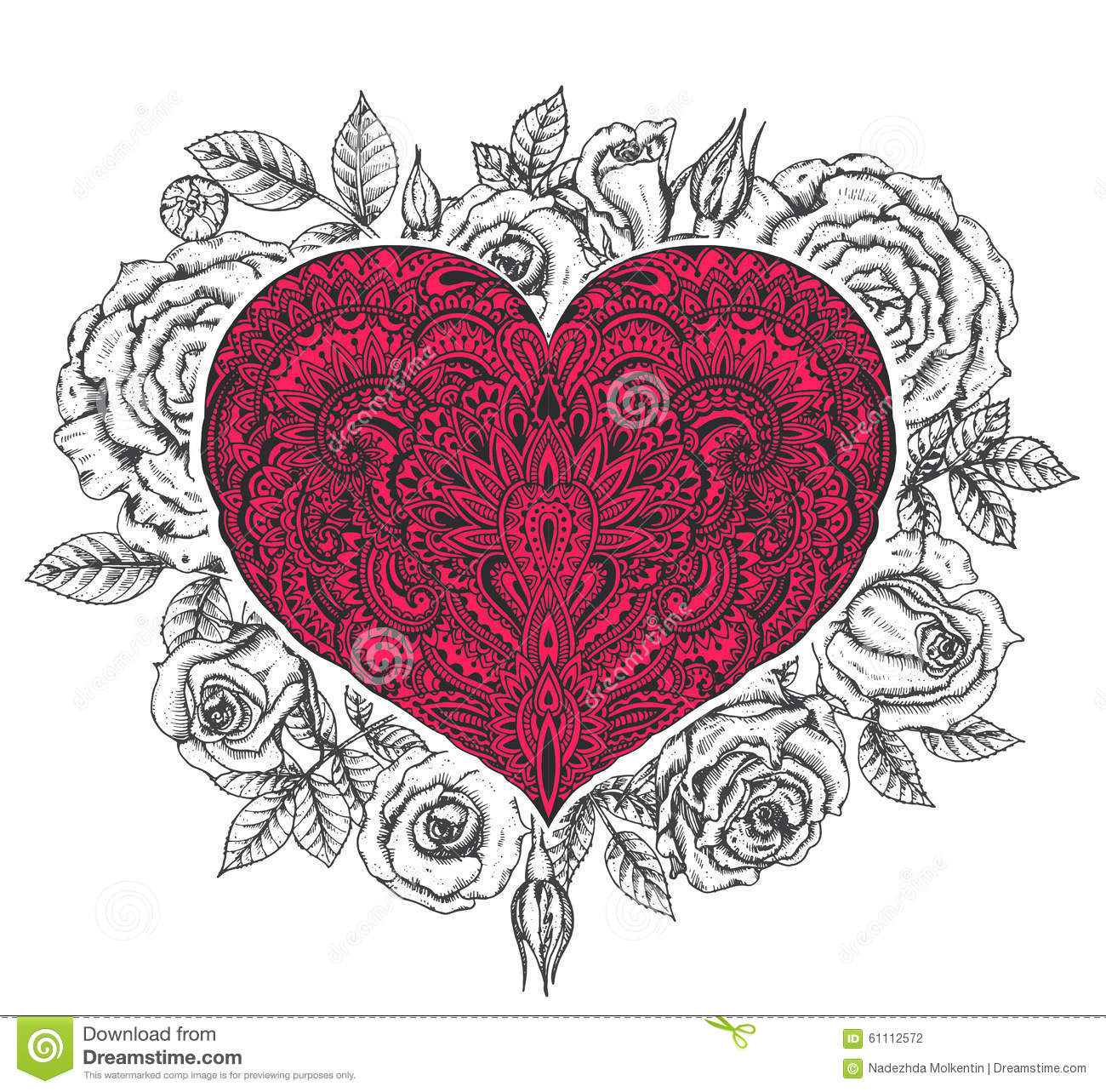 Beautiful Hand Drawn Ornate Heart In Zentangle Style With Rose F
