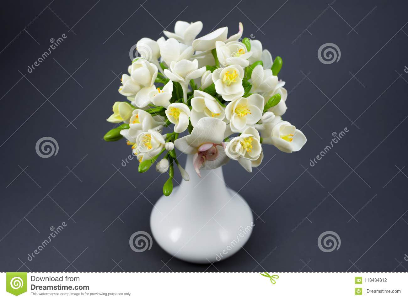 Hand made polymer clay flower bouquet in a white vase on a gray download comp izmirmasajfo