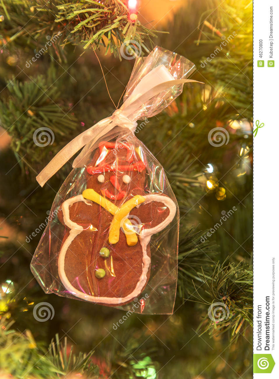 Beautiful hand made gingerbread man on Christmas Tree