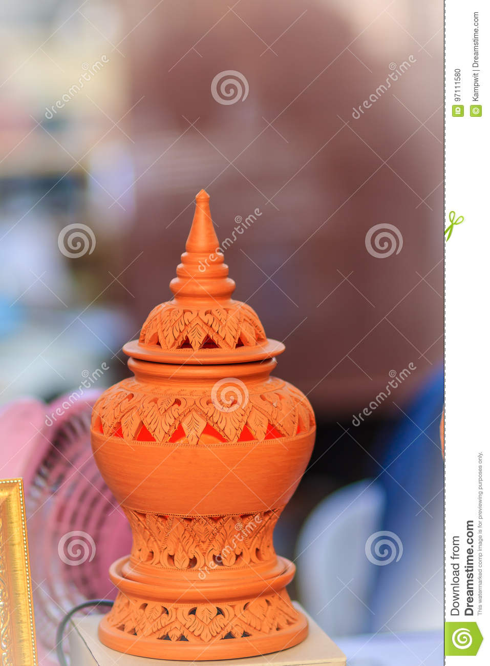 Beautiful Handmade Ceramic Lamp In Thai S Style Patterns Potter Stock Photo Image Of Lantern Flower 97111580