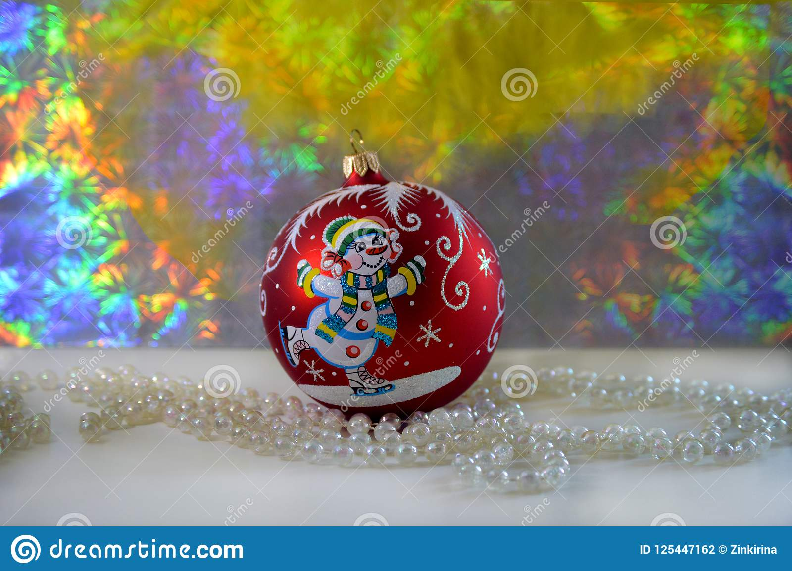 download beautiful handmade christmas ball and light beads stock photo image of celebrate