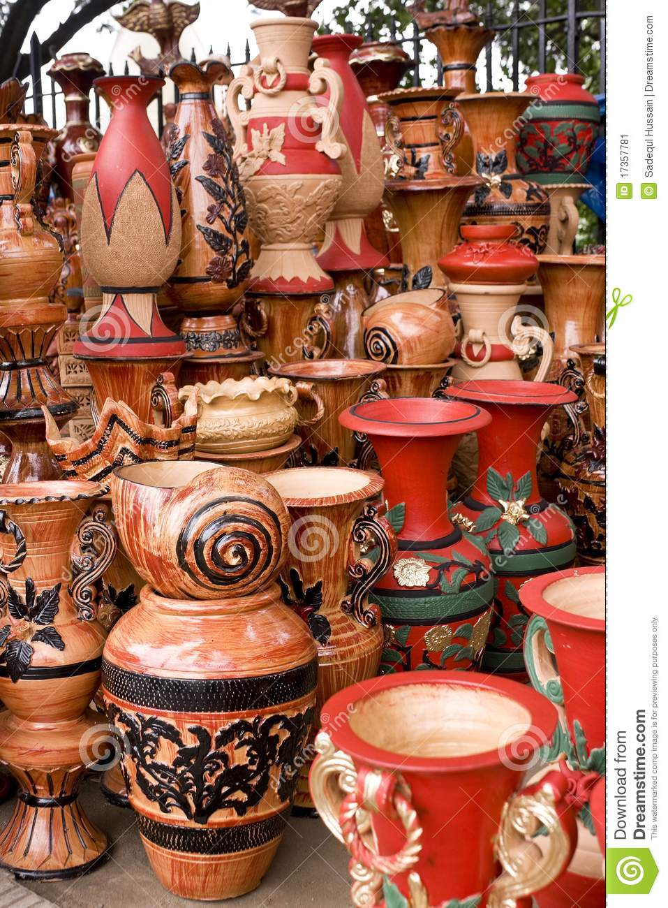 Beautiful Handmade Amp Hand Painted Clay Pots Stock Image