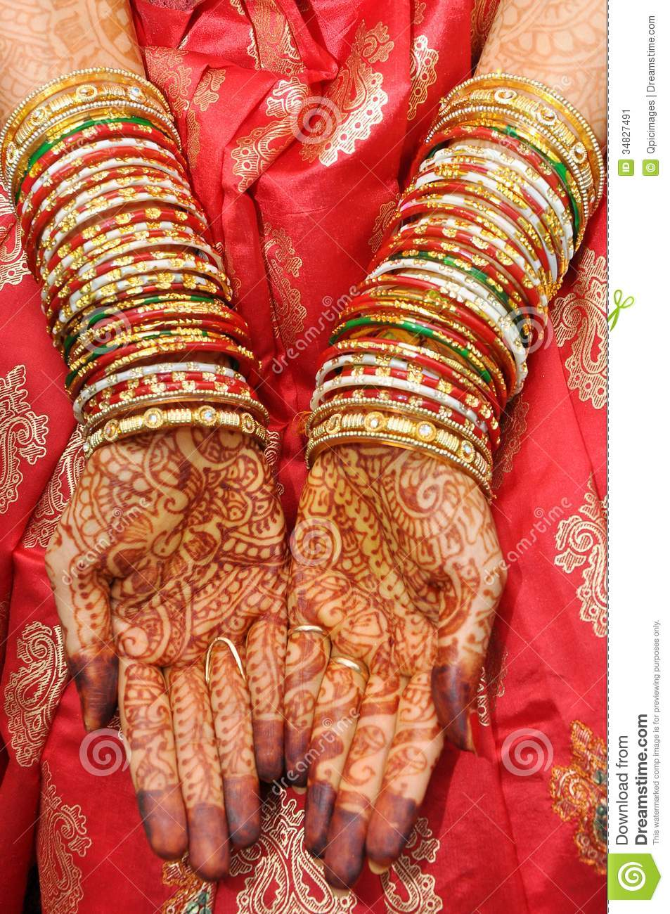 Beautiful Hands Of An India Bride Stock Image - Image of embellish ...