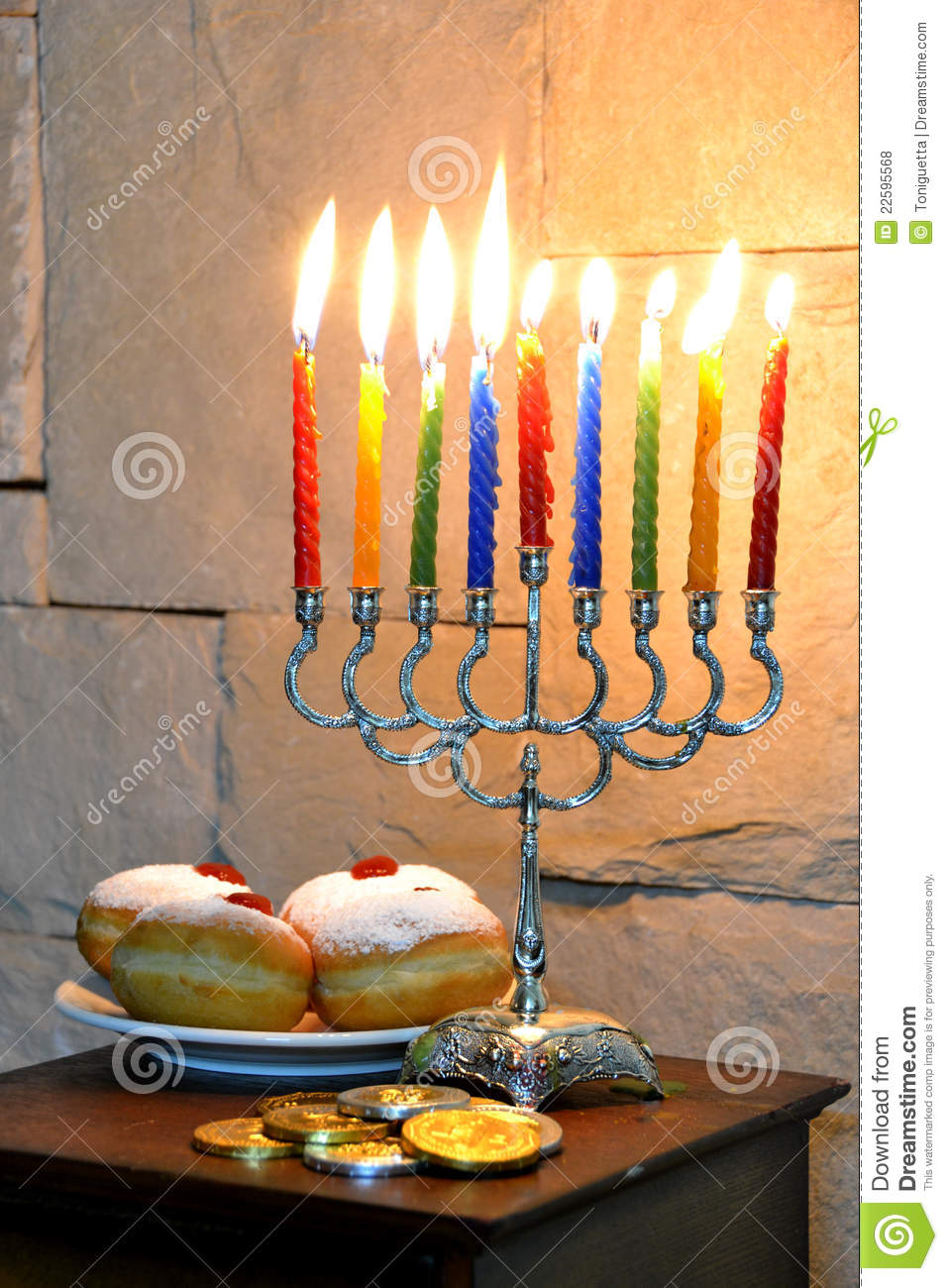 Beautiful Hanukkah Candles Stock Photo Image Of Jewish