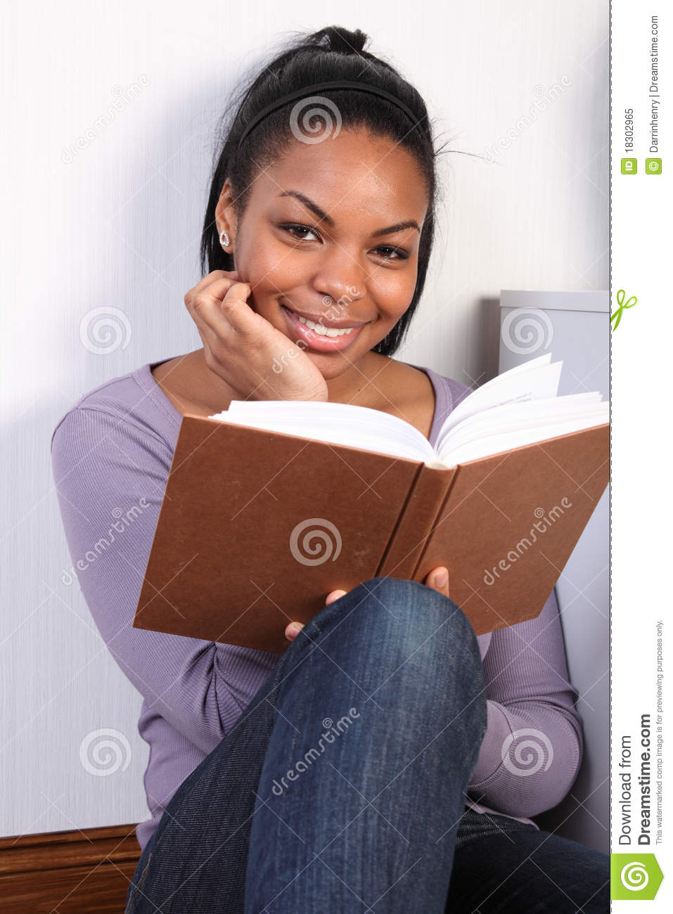 Superb Beautiful Happy African Girl Reading A Book Stock Image Image Of Natural Hairstyles Runnerswayorg