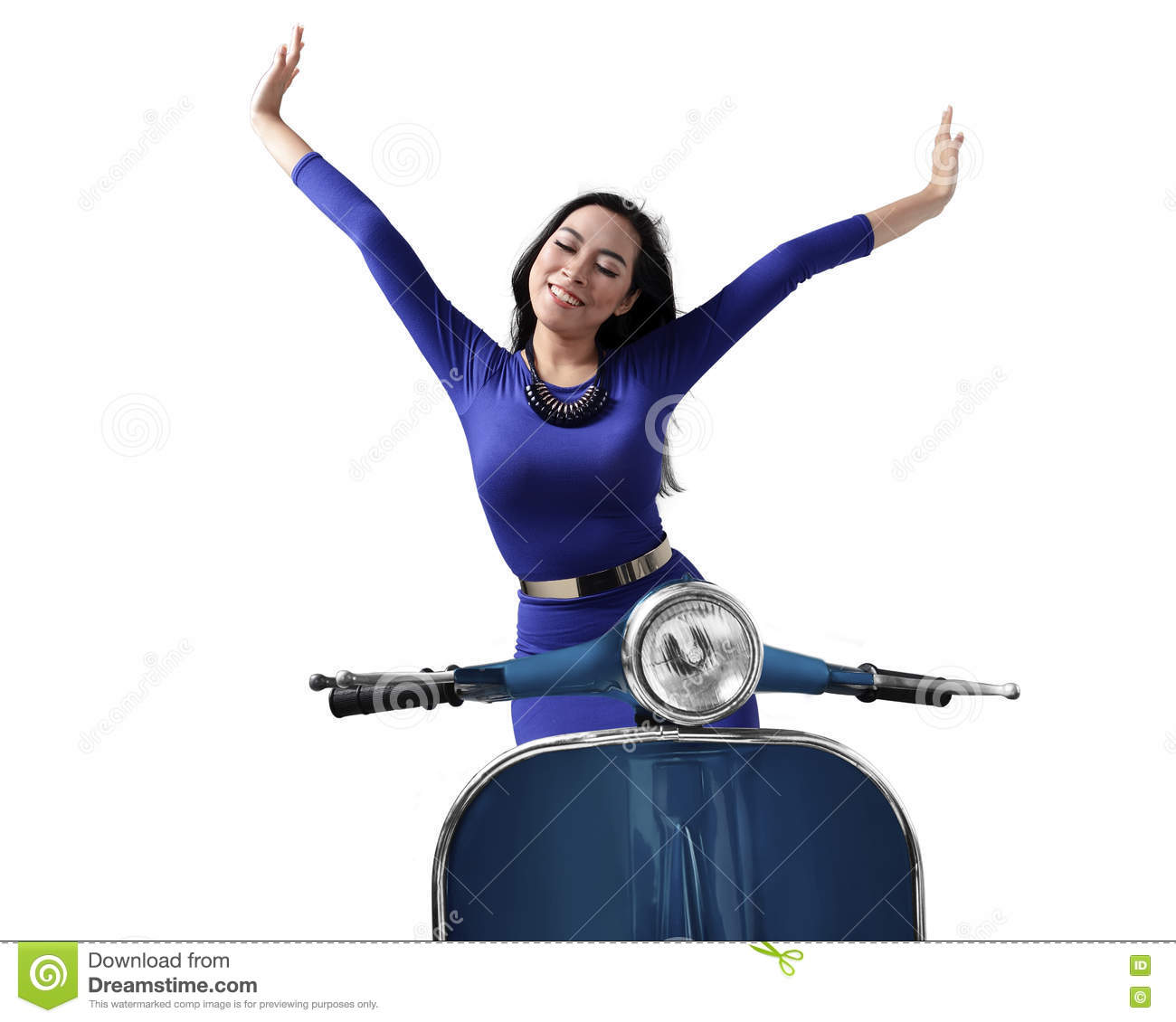 Beautiful happy asian woman riding a scooter raise both up hands