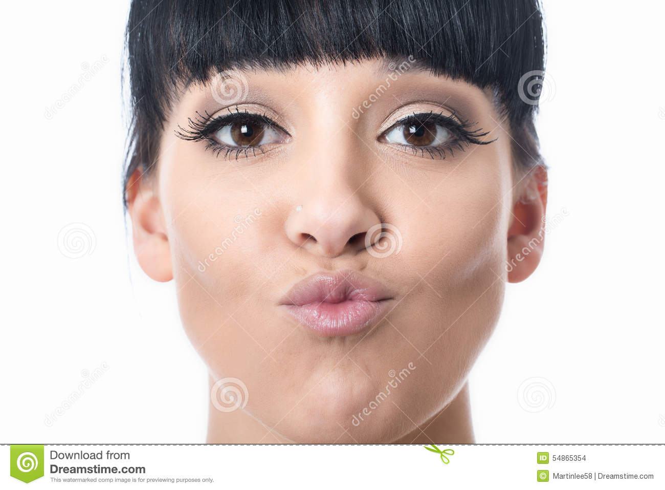 Beautiful Happy Attractive Young Woman with Pouted Lips