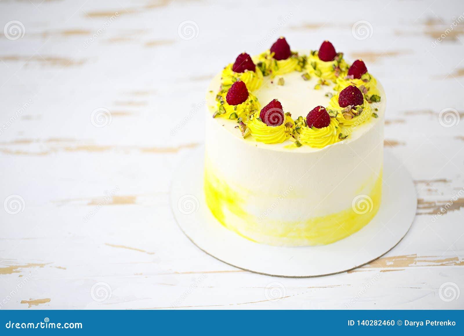 Beautiful Happy Birthday Cake With Mascarpone Decorated Raspberry Pistachio On The Stand