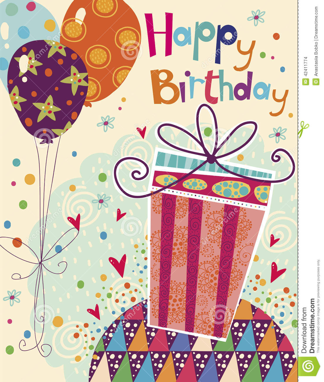 Beautiful happy birthday greeting card with gift a