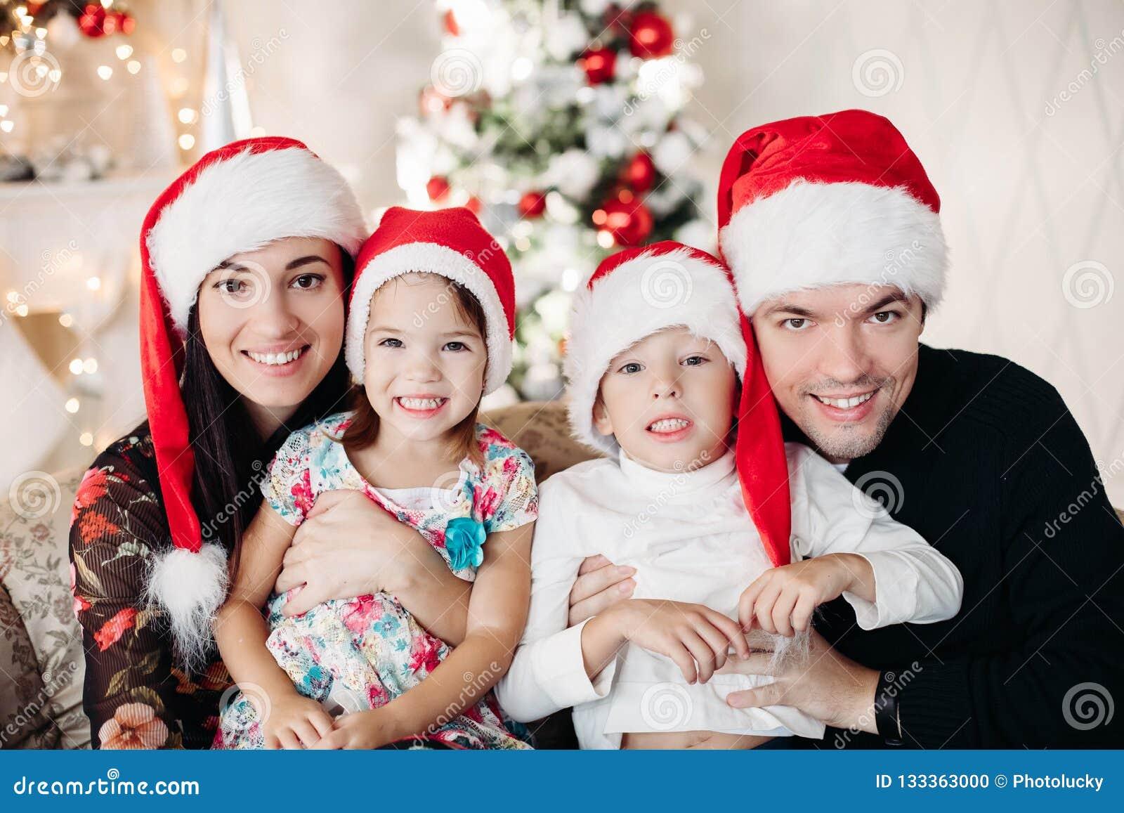 Beautiful happy caucasian family. Portrait of happy loving siblings
