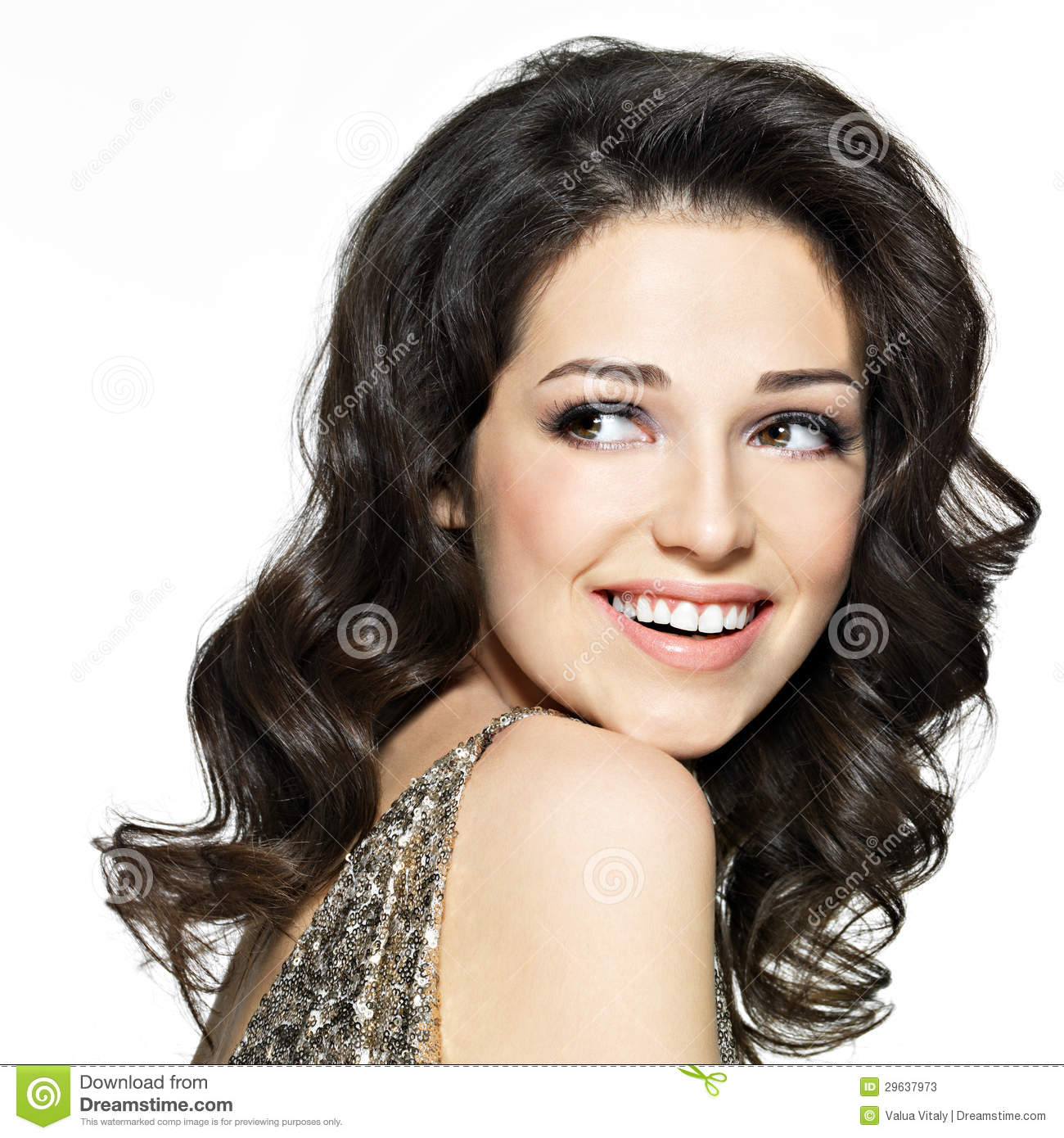 Beautiful happy laughing woman with brown hairs