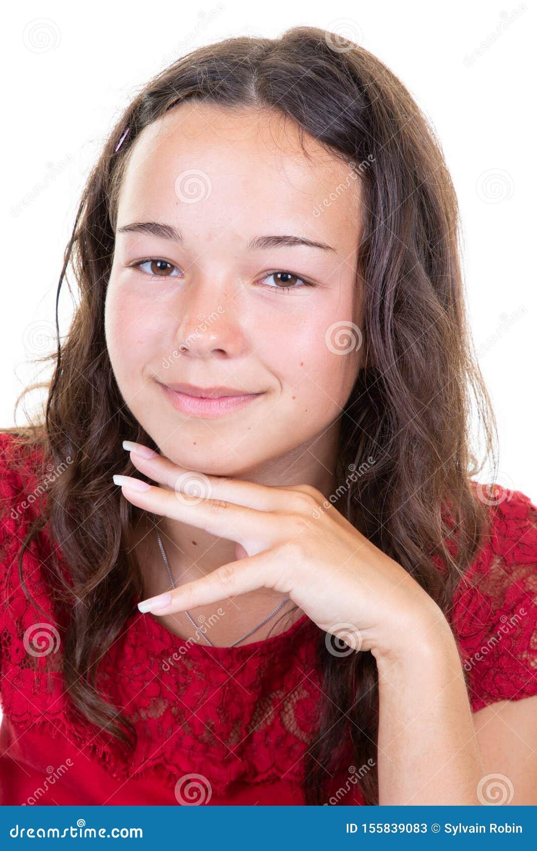 Beautiful Portrait Of Smiling Teen Girl Outdoors Stock