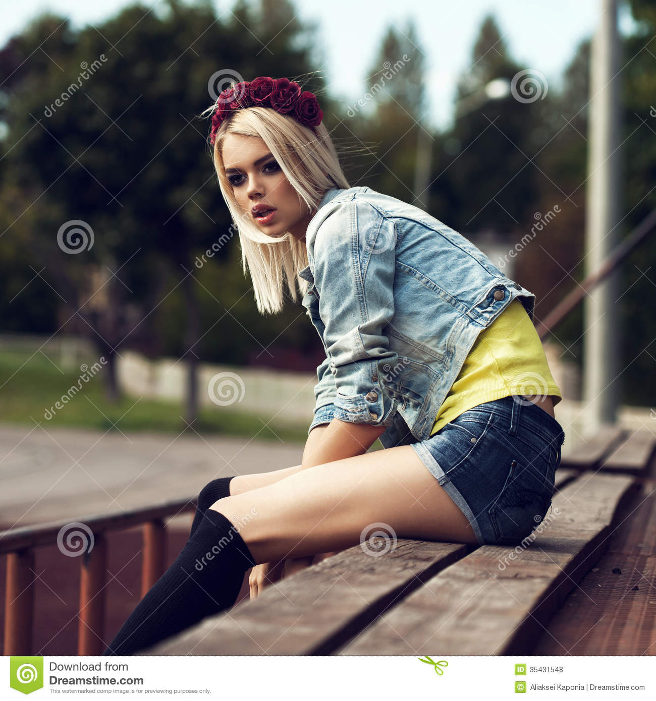 Beautiful Happy Student Relaxing Outdoor Stock Photo