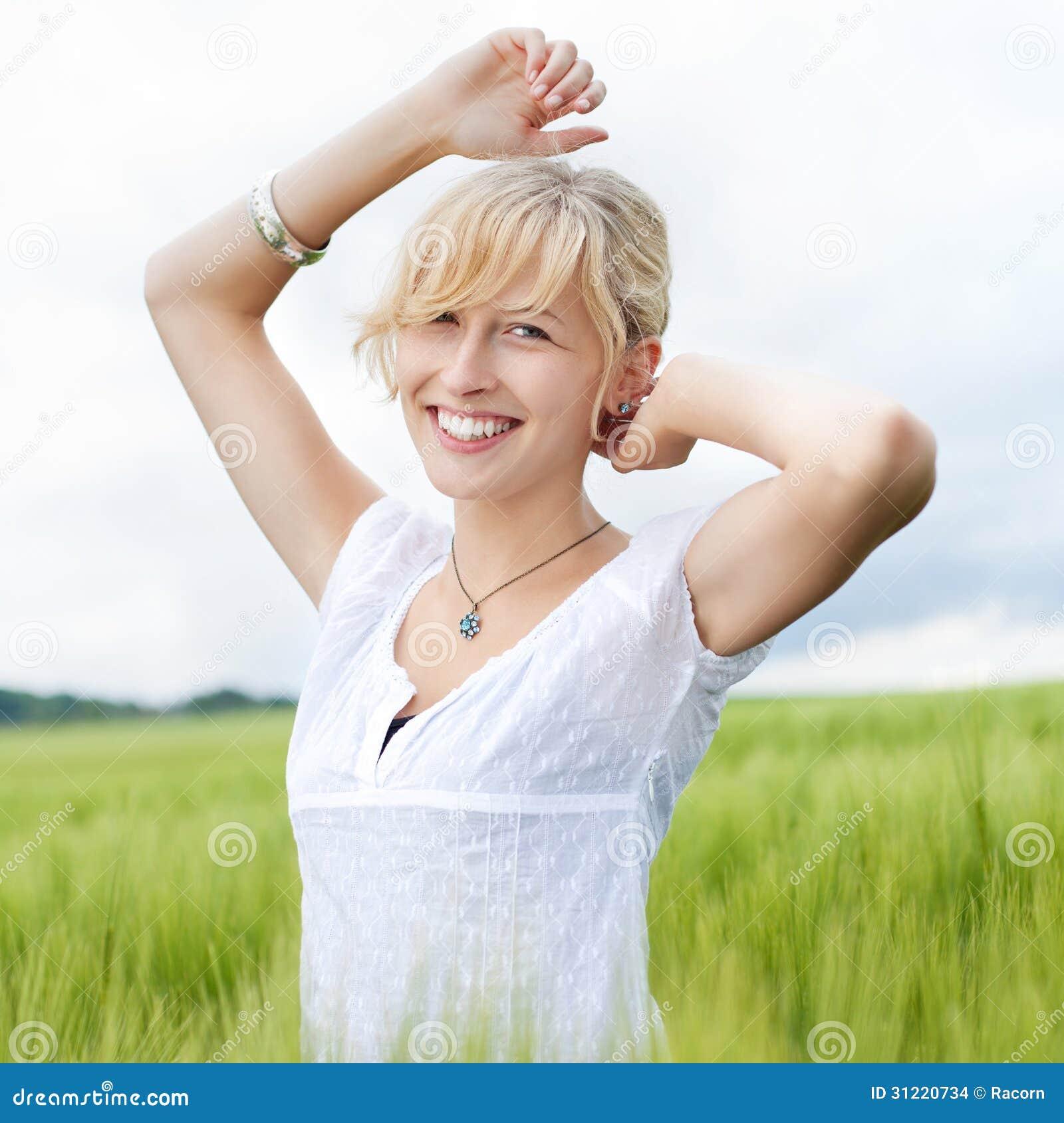 Happy Beautiful Woman Enjoying At Beach Stock Photo: Beautiful Happy Woman In Nature Stock Photo