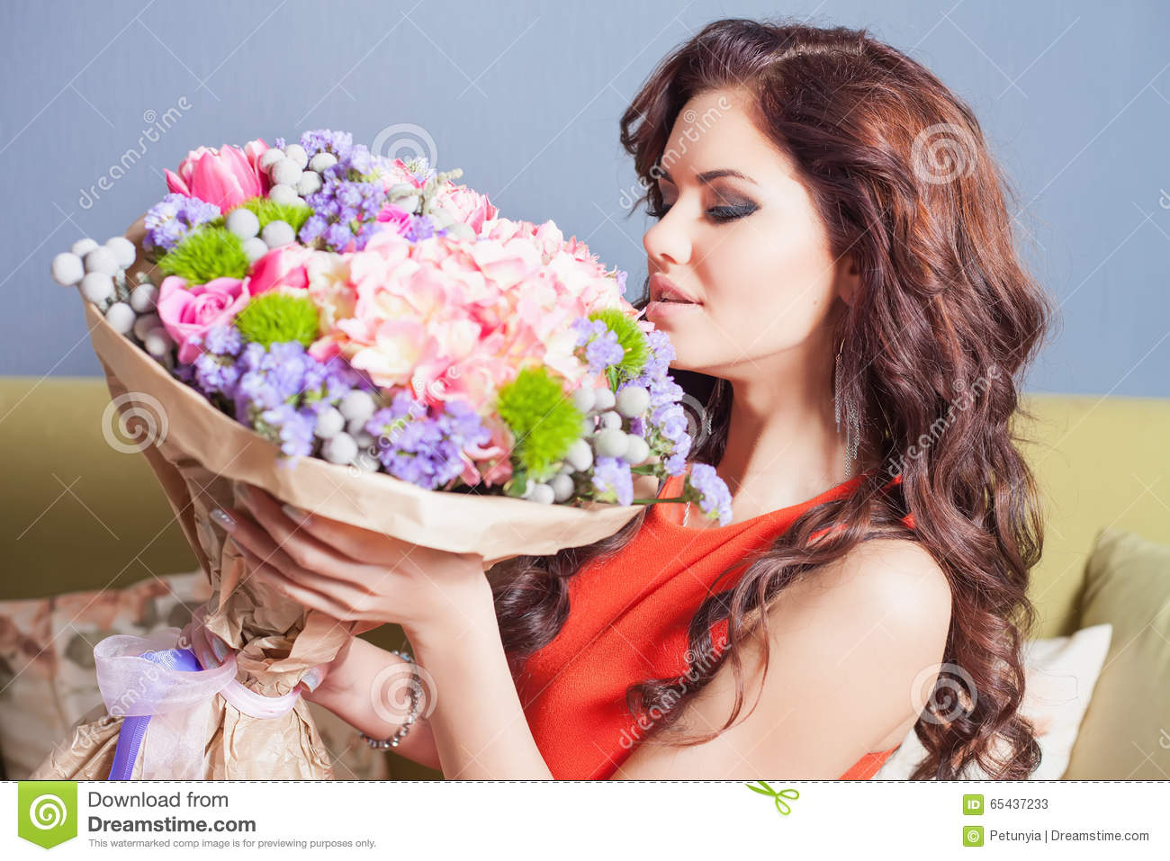 Beautiful Happy Woman Received A Flower Bouquet Of Roses ...