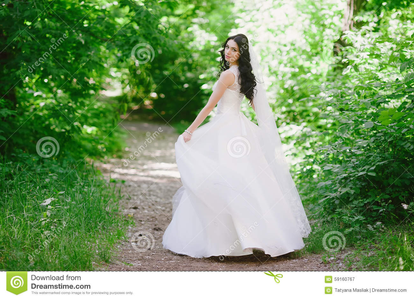 Beautiful Happy Young Brunette Bride Outdoors In Wedding Dress ...