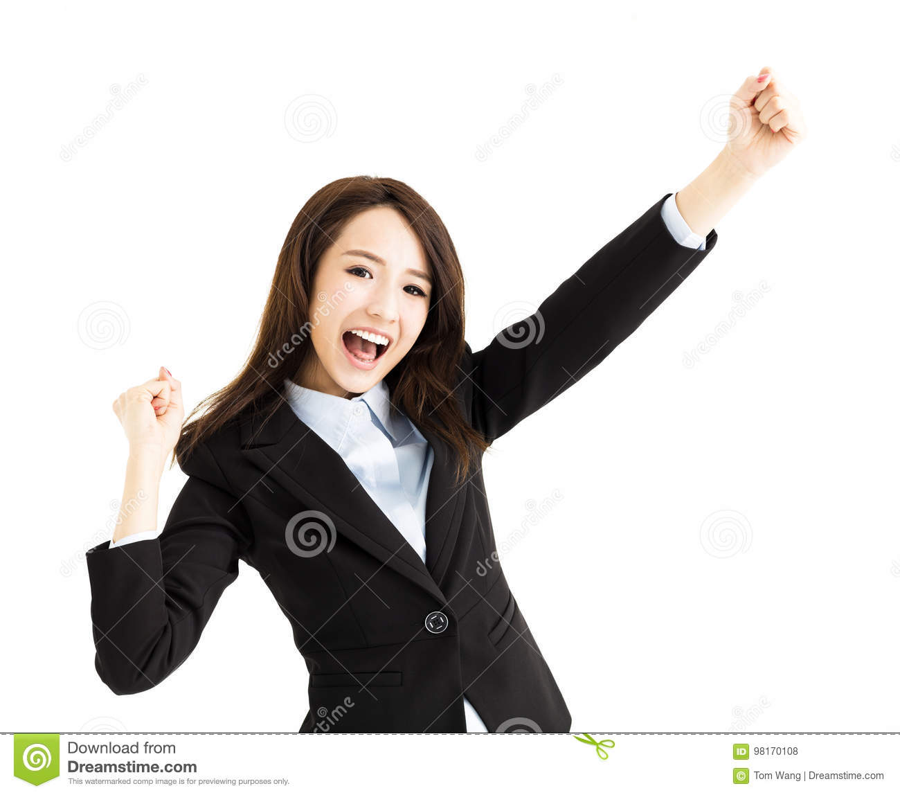 Beautiful happy young business woman