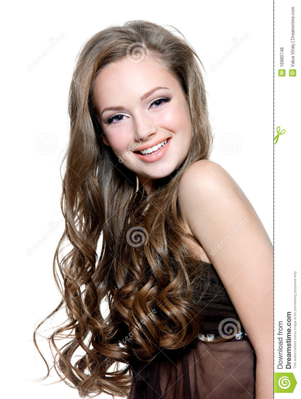 Beautiful Happy Young Girl With Long Curly Hairs Royalty
