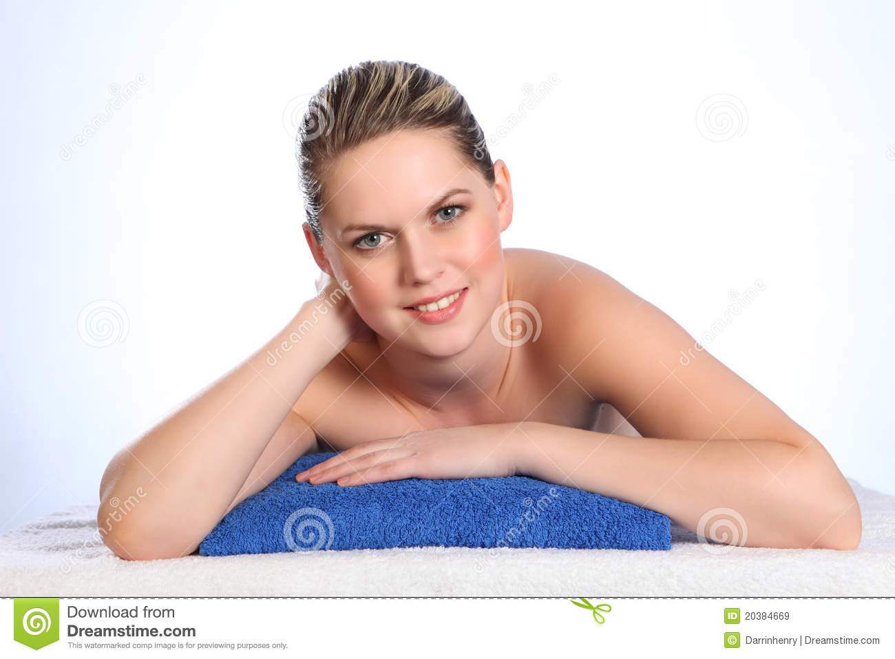 beautiful happy young nude woman health spa stock image - image of
