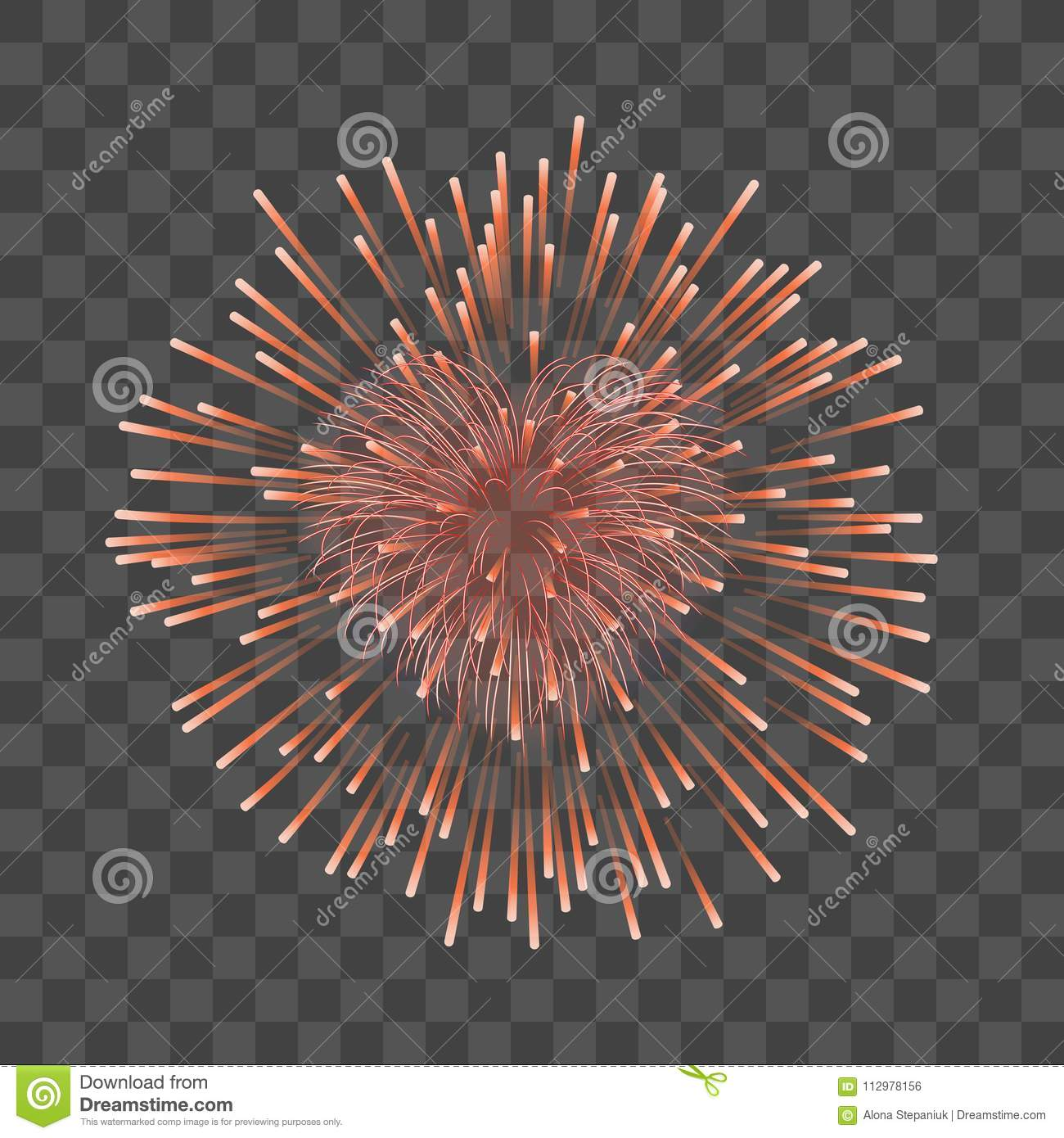 Beautiful heart-firework. Red romantic firework, isolated transparent background. Light love decoration salute for