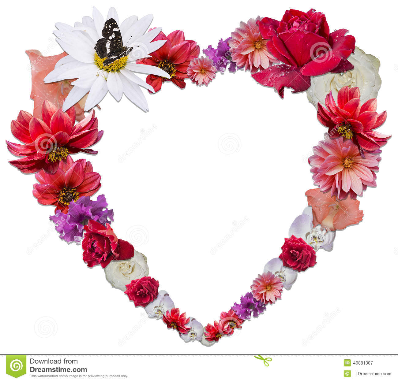 flowers with love symbol stock illustration  image, Beautiful flower