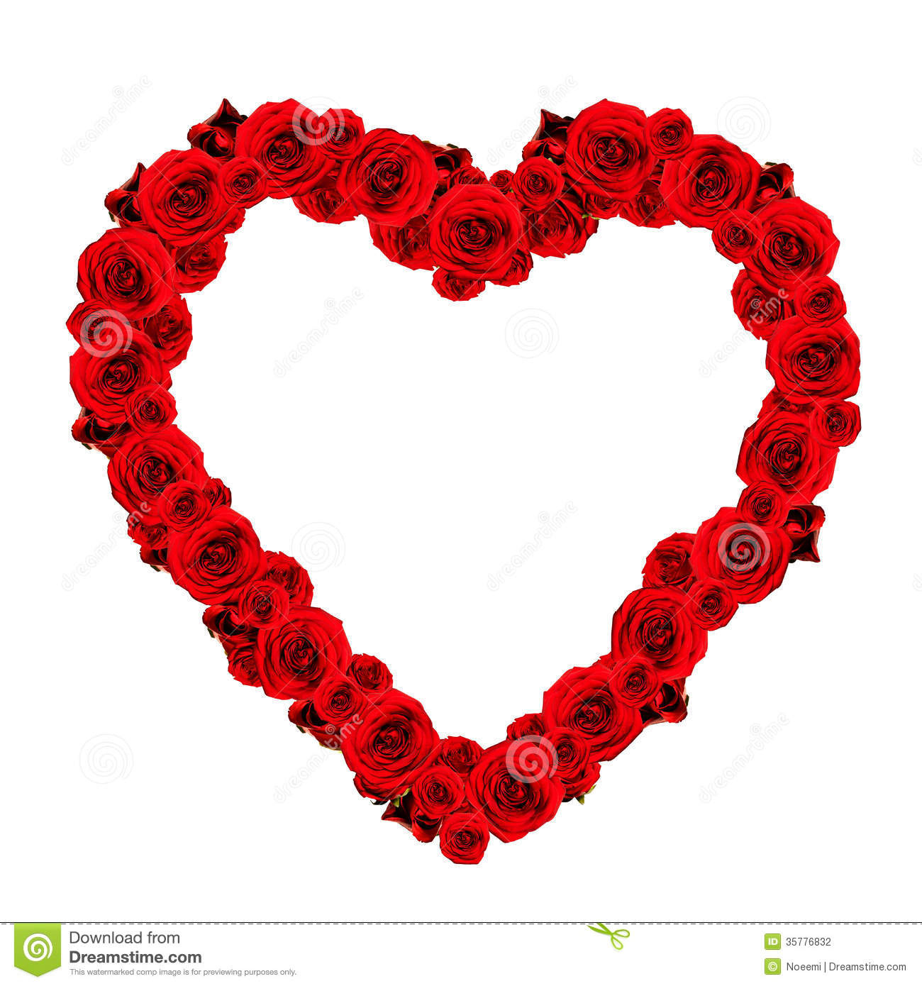 Beautiful Heart Made Of Red Roses - Frame Stock Photo