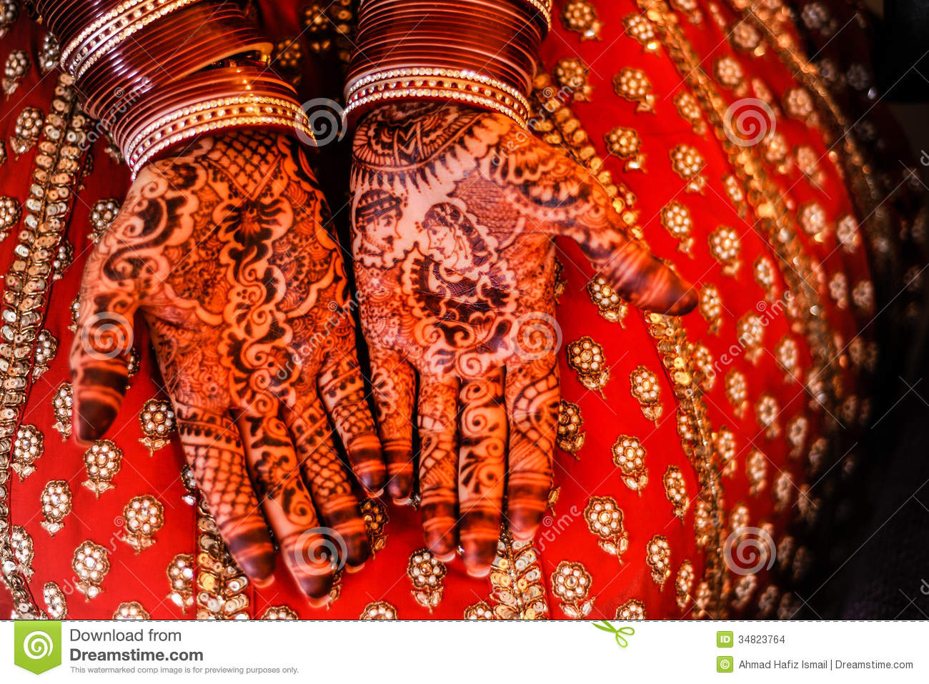 Beautiful Henna Bangles Bride Hands