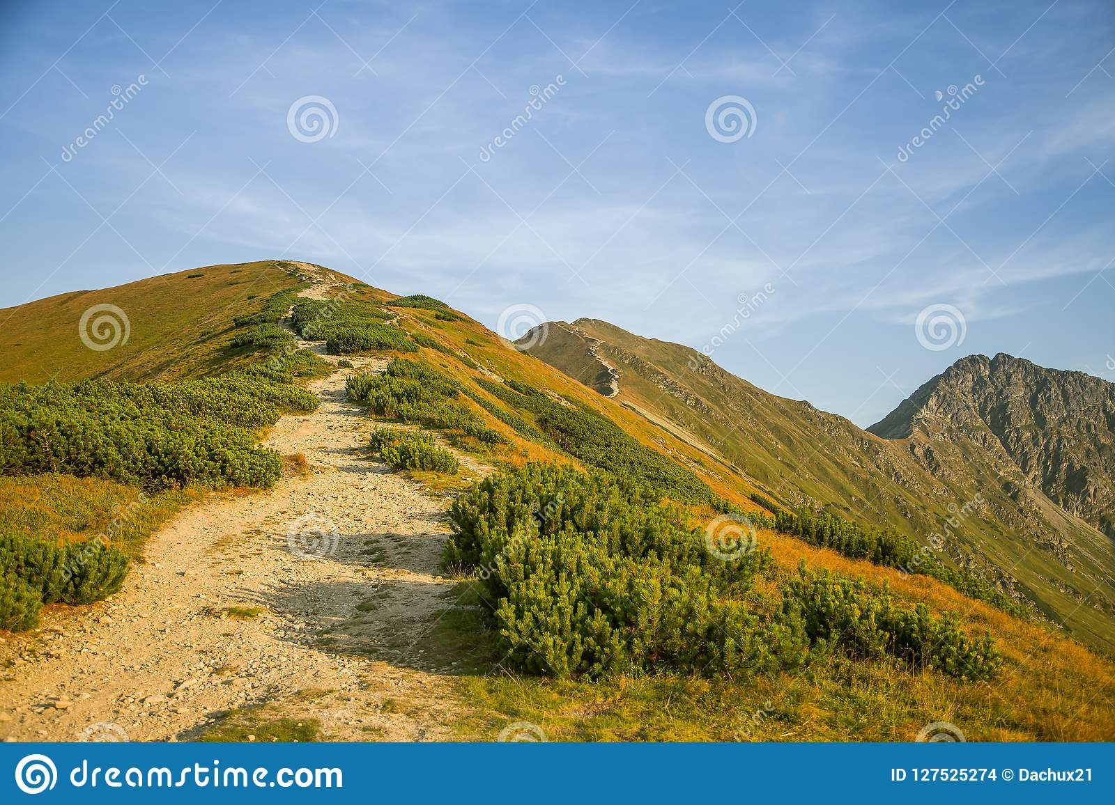 A beautiful hiking trail in the mountains. Mountain landscape in Tatry, Slovakia.