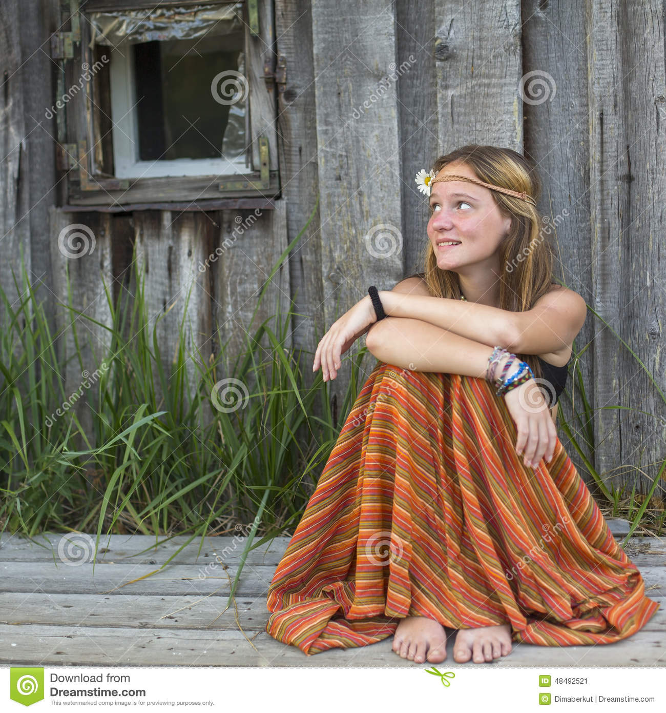 Beautiful Hippies Girl Sitting Outdoors In The Countryside -8984