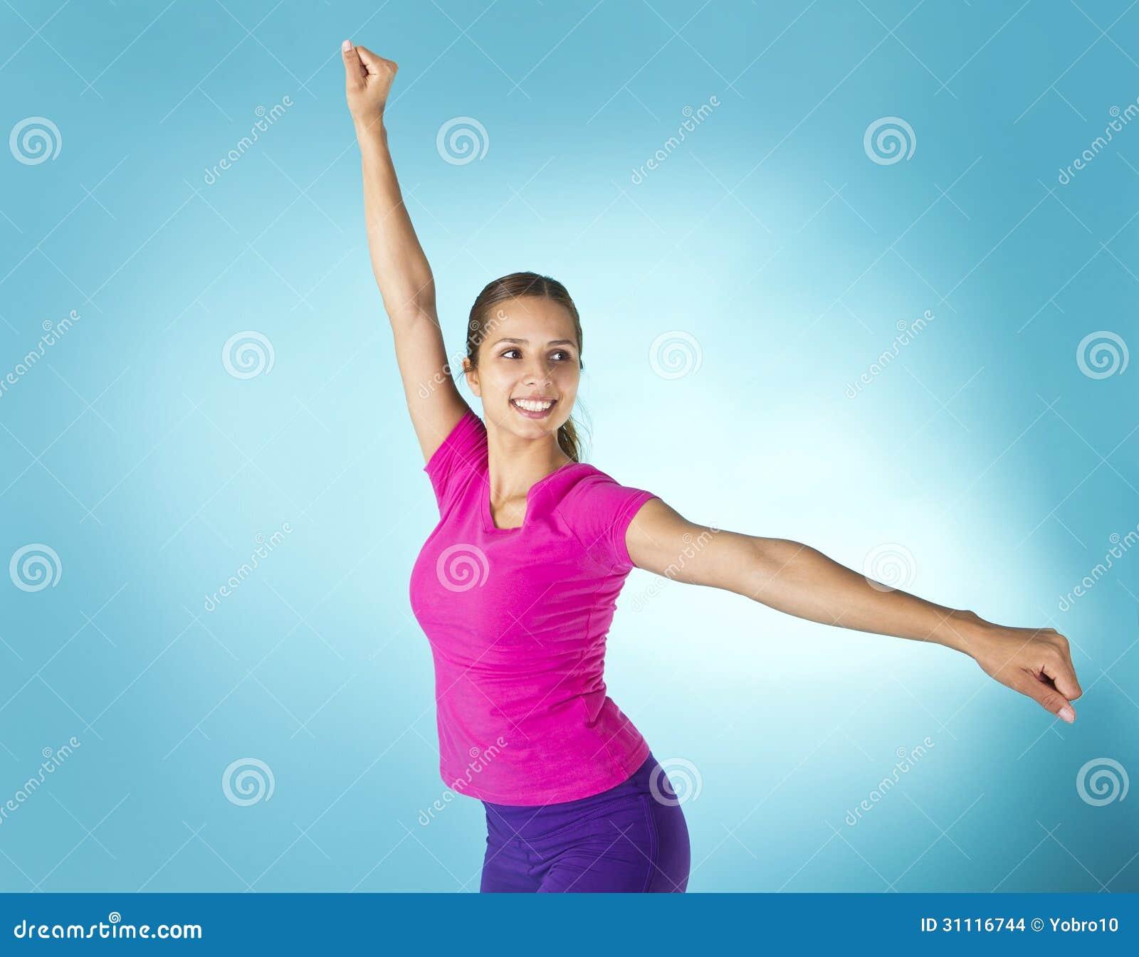 Happy Beautiful Woman Enjoying At Beach Stock Photo: Beautiful Hispanic Woman Aerobic Workout Stock Images