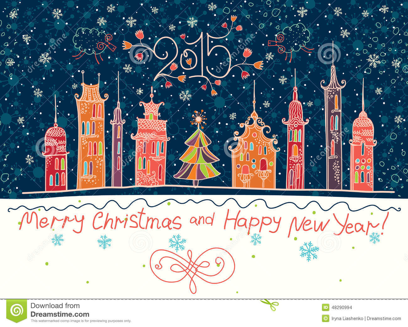 50 Beautiful Merry Christmas And Happy New Year Pictures: Beautiful Holiday In Cartoon Town. Stock Illustration