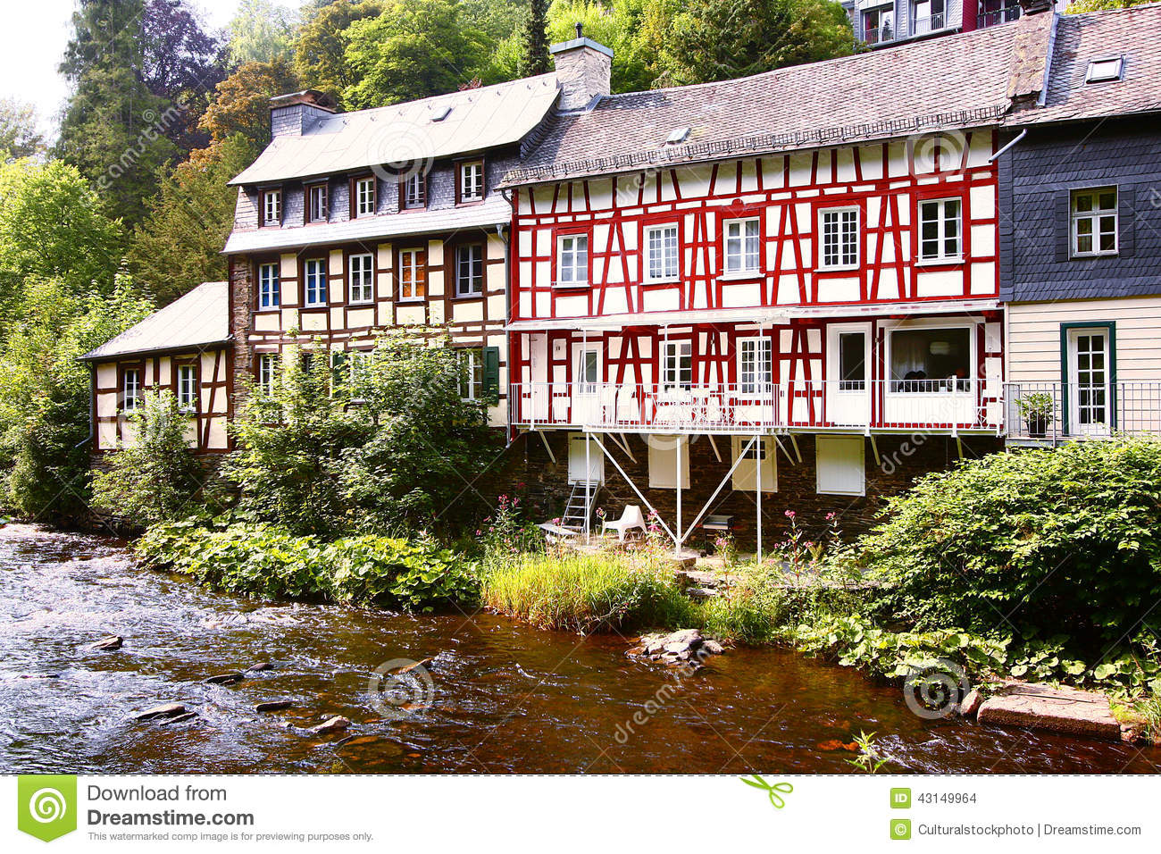 Beautiful Cottage For Holidays: Beautiful Holiday Cottages Stock Photo. Image Of Rill