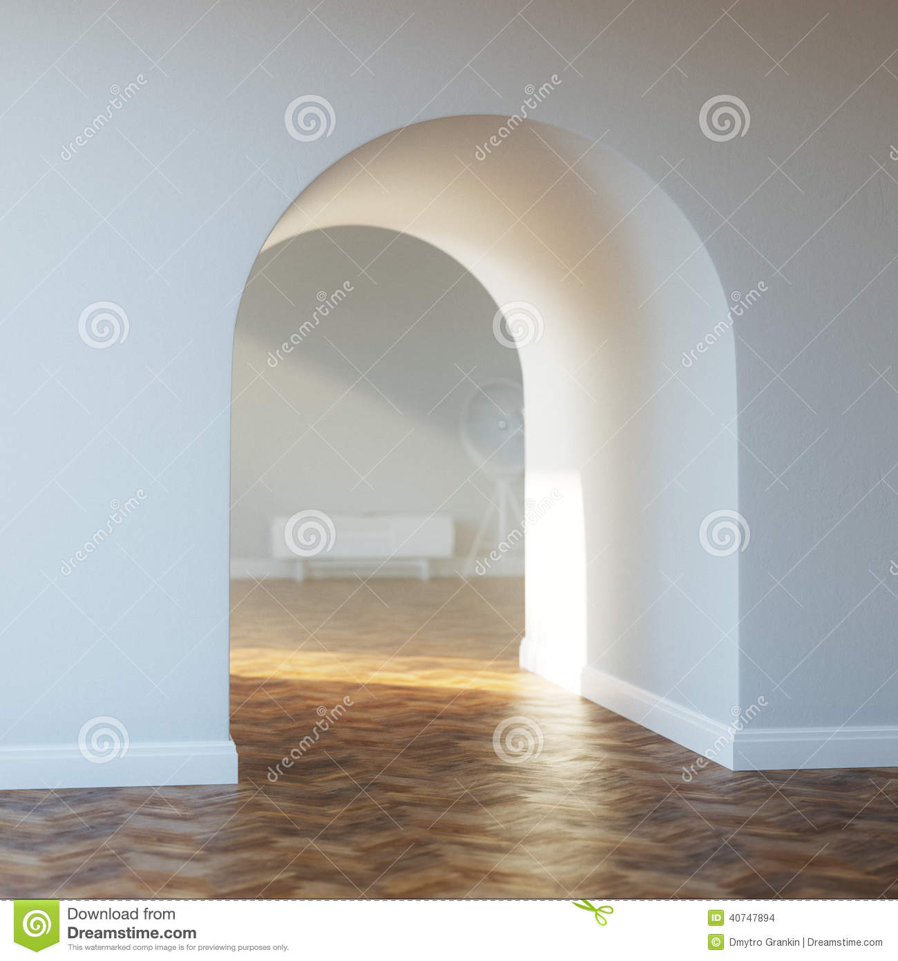 Beautiful Home Entrance With Wood Floor Interior With Arch Stock